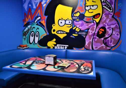 Simpsons-themed booth