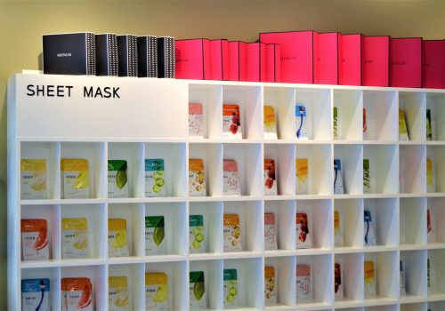 shelves of face sheet masks