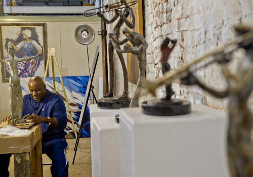 man sculpting