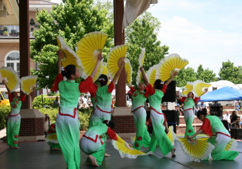 traditional dancers with fans