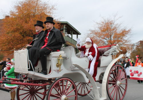 Santa in horse-drawn carriage