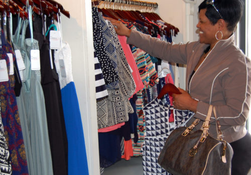 woman browsing clothes