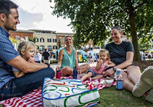 family on picnic blanket