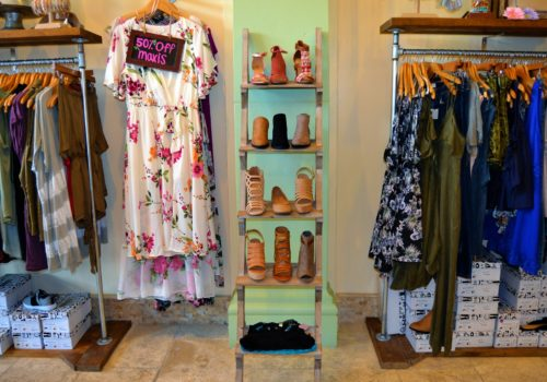 dresses and shoe tower