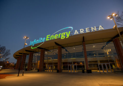 Infinite Energy Center exterior at night