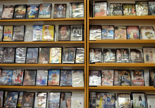 wall of dvds