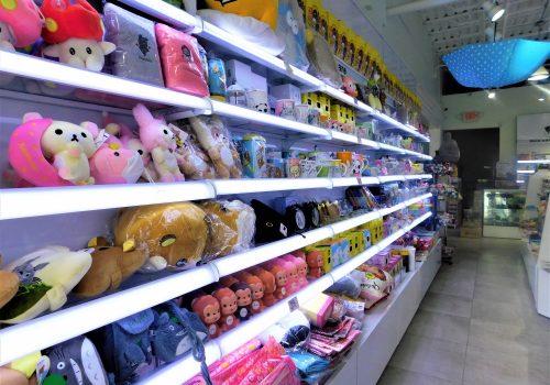 shelves of cosmetics