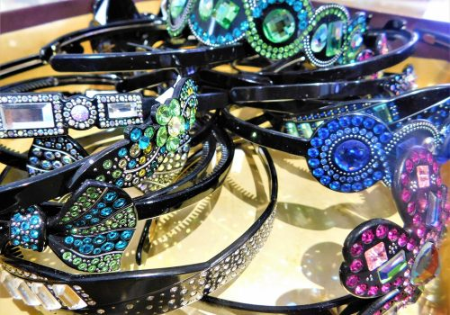 dish of sparkly accessories