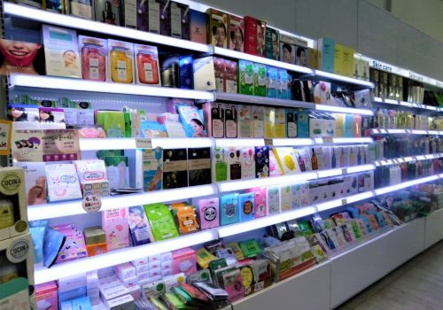 shelves of cosmetics