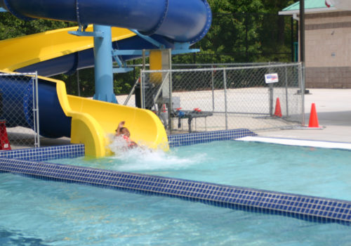 girl on water slide