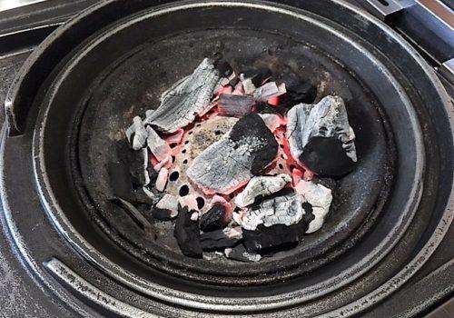 charred coals