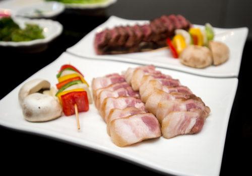 pork belly and vegetable kebabs