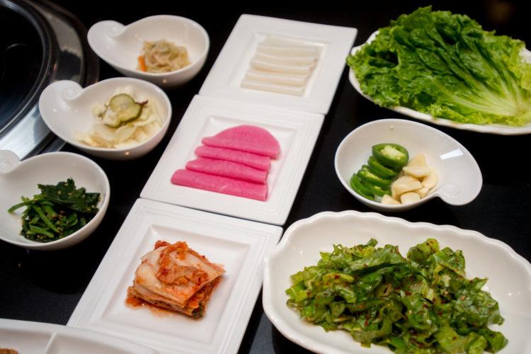 plates of raw veggies