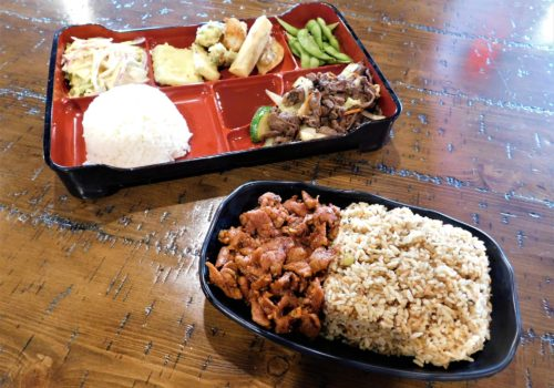 tray of food with rice