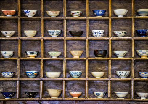 shelves of bowls