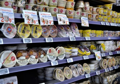 shelves of food products