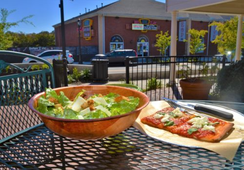 pizza and side salad