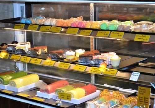 desserts in a display case