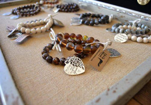 display of bracelets
