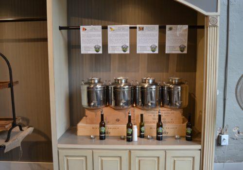 display of flavored vinegars