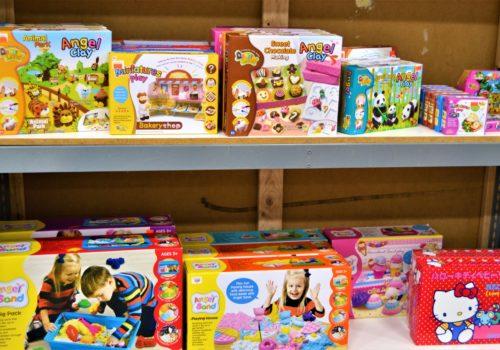 shelves of children toys