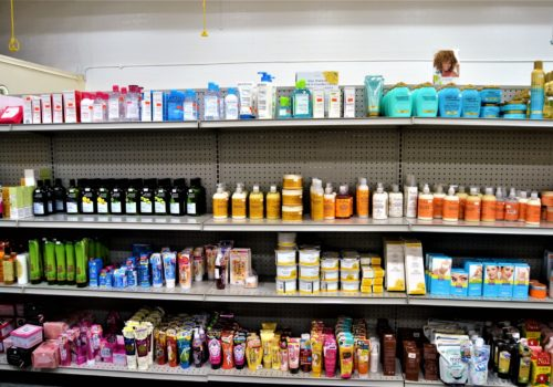 shelves of personal hygiene products