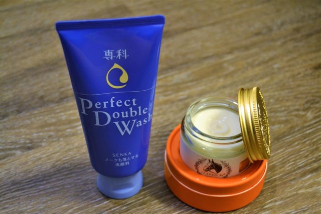 two bottles of beauty products