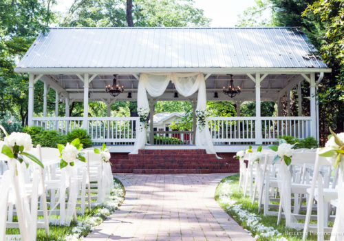 pavilion decorated for ceremony