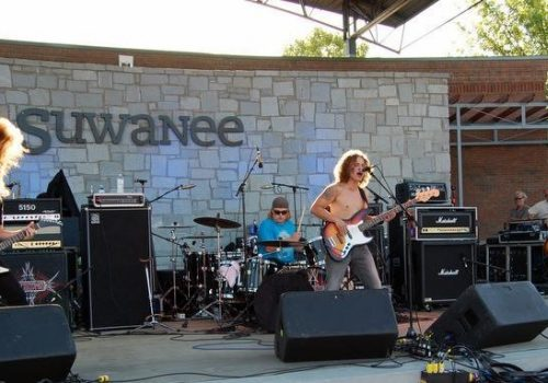 band playing on Suwanee stage