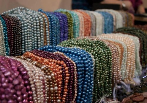 rows of colorful beads
