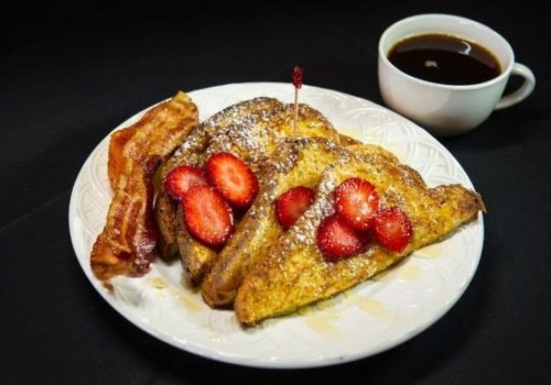 french toast with bacon and coffee
