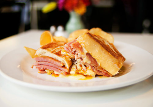 Apricot, ham and brie sandwhich