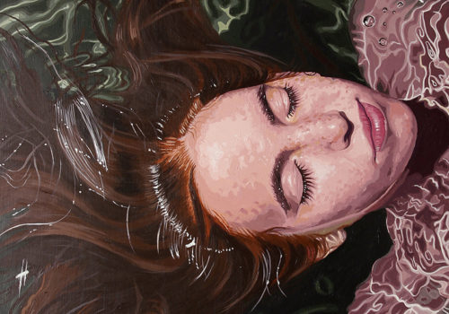 painting of women in water with eyes closed