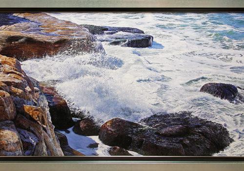 painting of waves crashing on rocks