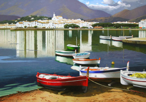 painting of boats docked in harbor