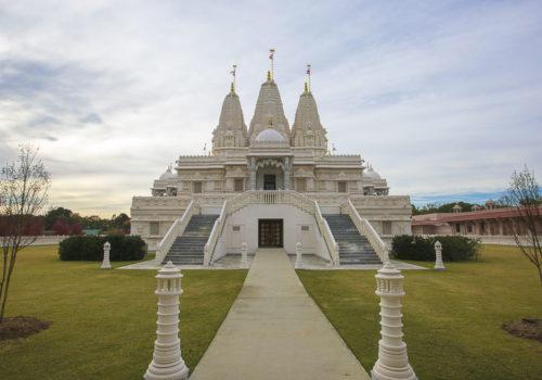 Front, outside view of BAPS Shri Swaminarayan Mandir in Atlanta, Georgia